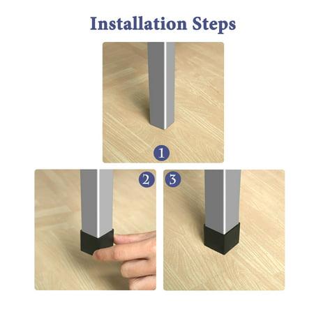 Furniture Angle Iron Foot Pads L Shaped Rubber Leg Covers 30 x 30mm 8 Pcs Black - image 6 de 7