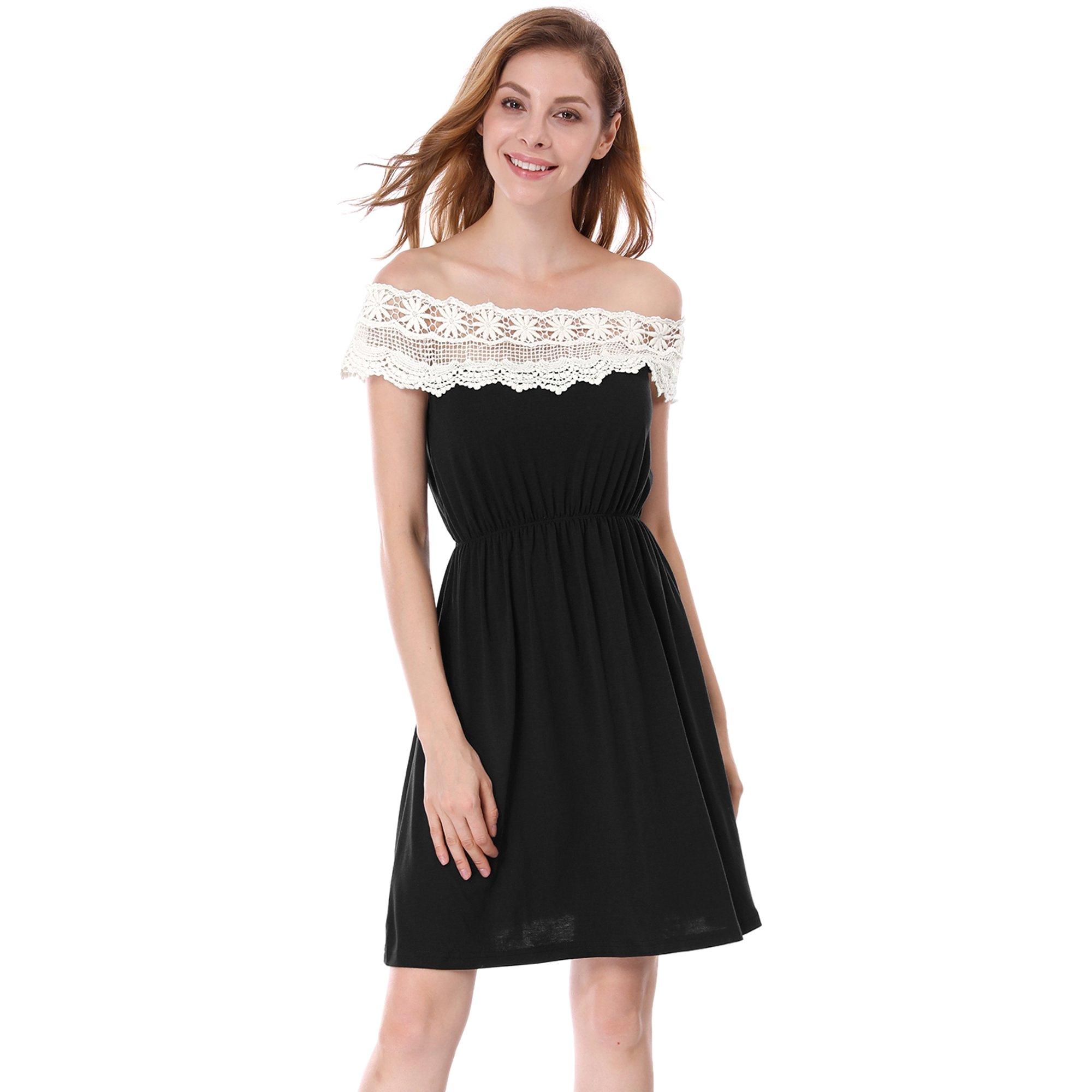 f6cef2e4d98f Ladies Off Shoulder Pullover Lace Neck Mini Dress Blacks XS   Walmart Canada
