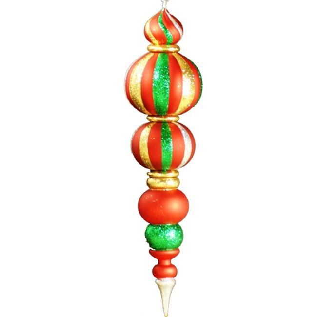 Queens of Christmas WL-FIN-48-GRG 48 inch Green  Red and Gold Plastic Oversized Shatterproof Finial