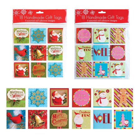 36 Assorted Handmade Self Adhesive Christmas Gift Tags. Embellished Foil Finish. 12 Holiday Designs with Tip-ons, Santa, Snowman, Ginger Bread Man, Snow Flakes, Stockings, Holly, Xmas Tree