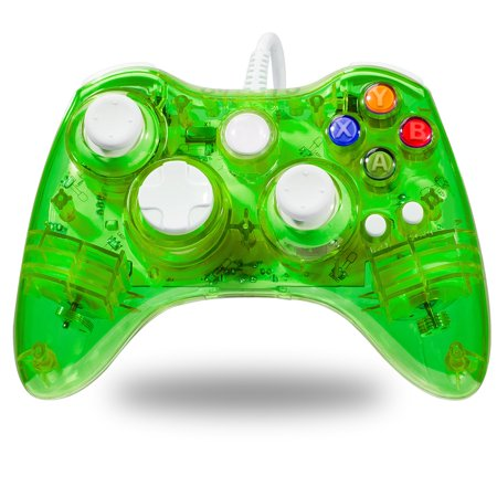 LUXMO Afterglow USB Wired Controller Gamepad for Microsoft Xbox 360 Console PC Win 7 8 10(Green) (Green Xbox 360 Controller Wired)