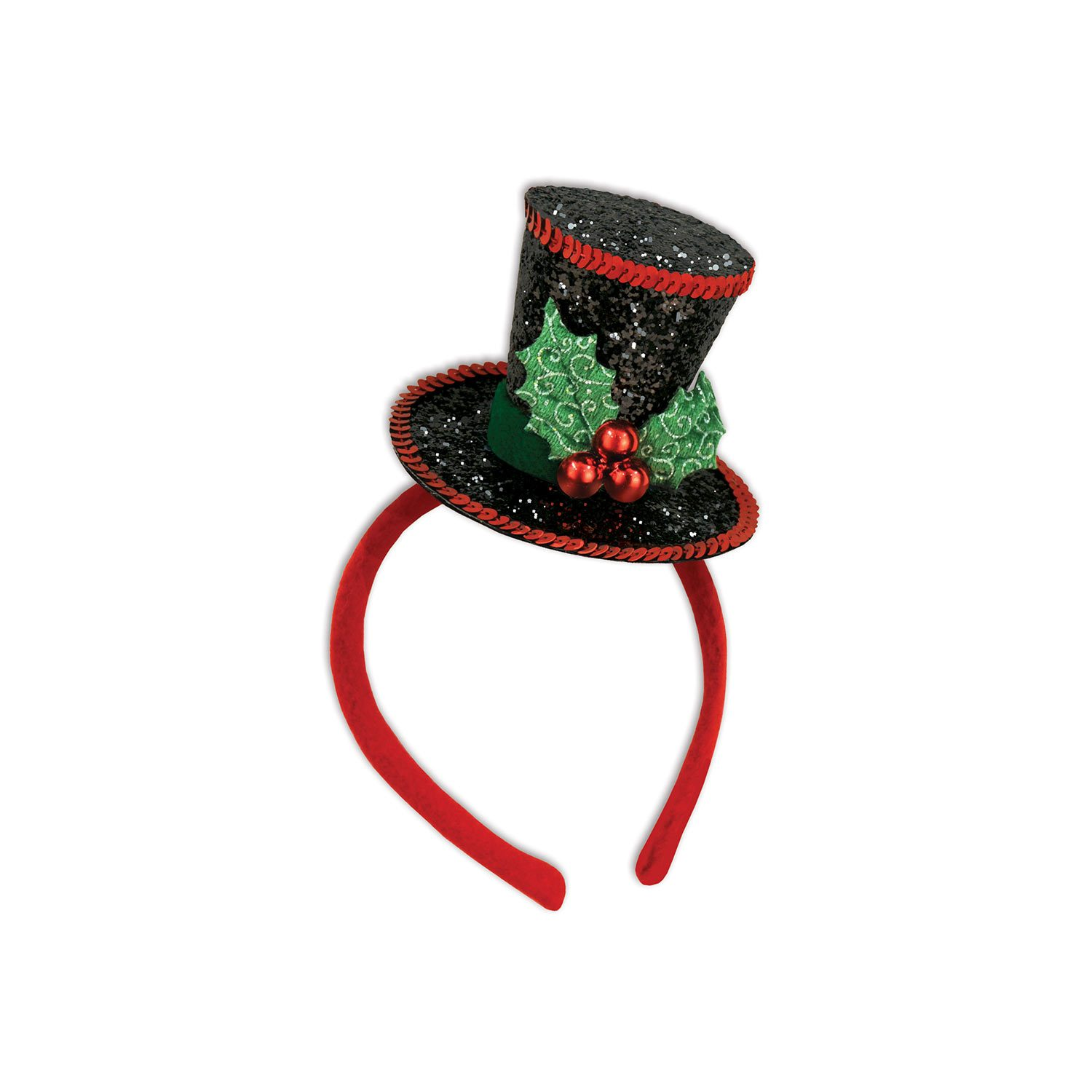 Mini Top Hat With Holly On Headband One Size