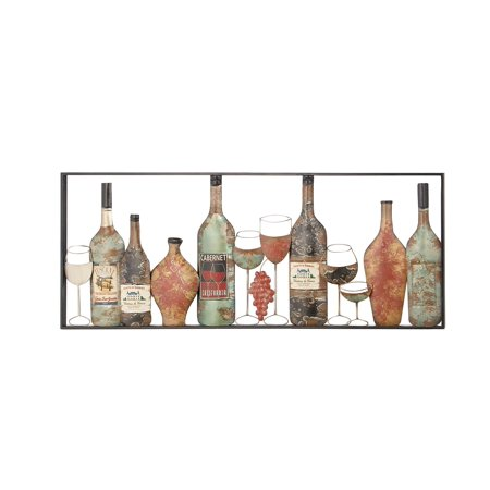 Decmode Rustic Metal Wine Bottles Framed Wall Decor Multiple