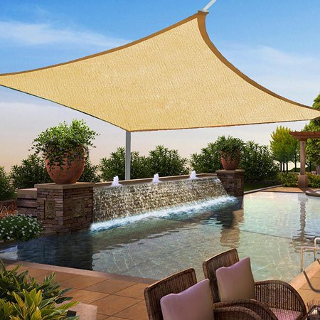 16' x 20' Sun Shade Sail, Square Sand 185GSM UV Block Canopy for Patio Lawn Yard ()