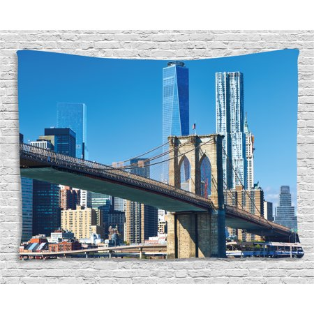 United States Tapestry, Lower Manhattan Skyline Brooklyn Bridge in New York City Famous Landmark, Wall Hanging for Bedroom Living Room Dorm Decor, 60W X 40L Inches, Light Blue Tan, by Ambesonne](Good Room Brooklyn Halloween)