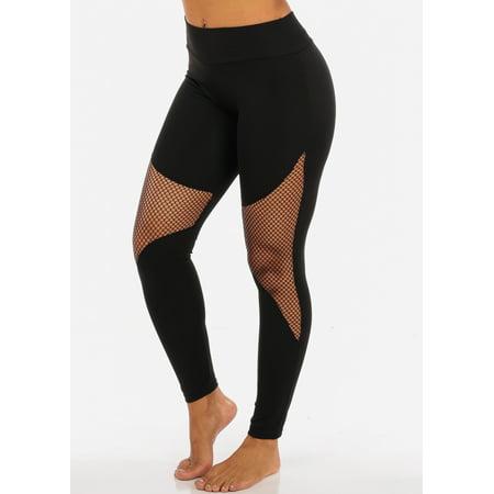 Womens Juniors Activewear Black Fishnet Detail High Waisted Leggings 41505P](Fishnet Leggings)