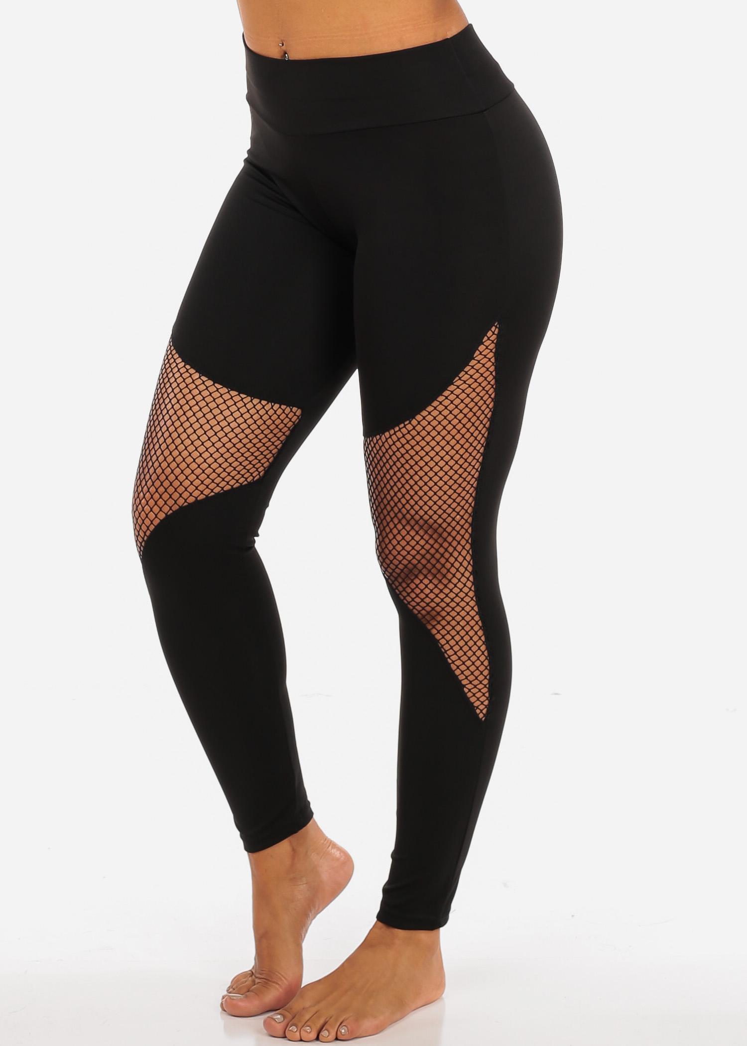 Womens Juniors Activewear Black Fishnet Detail High Waisted Leggings 41505P
