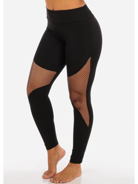 570f66507faf3 Product Image Womens Juniors Activewear Black Fishnet Detail High Waisted  Leggings 41505P