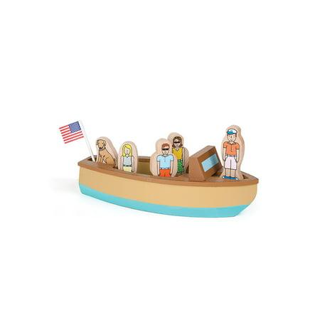 Jack Rabbit Creations Magnetic Wooden Vintage Lake Boat Set