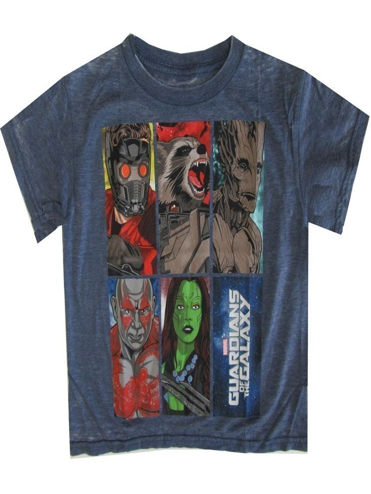 Marvel Little Boys Blue Dark Grey Guardians Of Galaxy Short Sleeve Top