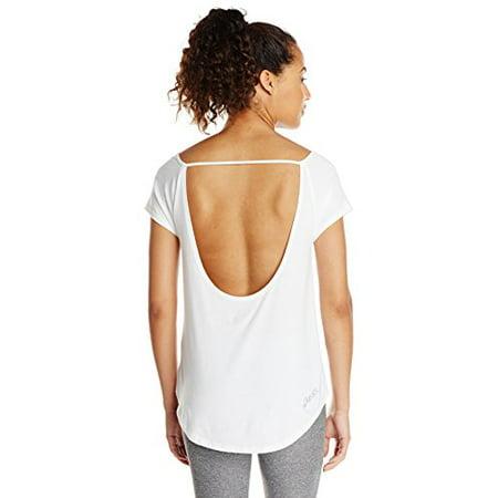 ASICS Women's Performance Run Slub Short Sleeve Top, White, Large