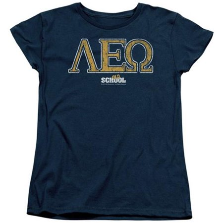 Trevco Old School-Leo Short Sleeve Womens Tee, Navy -