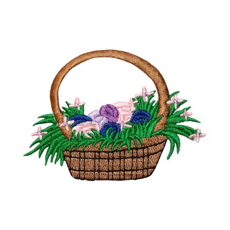 ID 3335 Easter Egg Basket Patch Spring Eggs Hunt Embroidered Iron On Applique