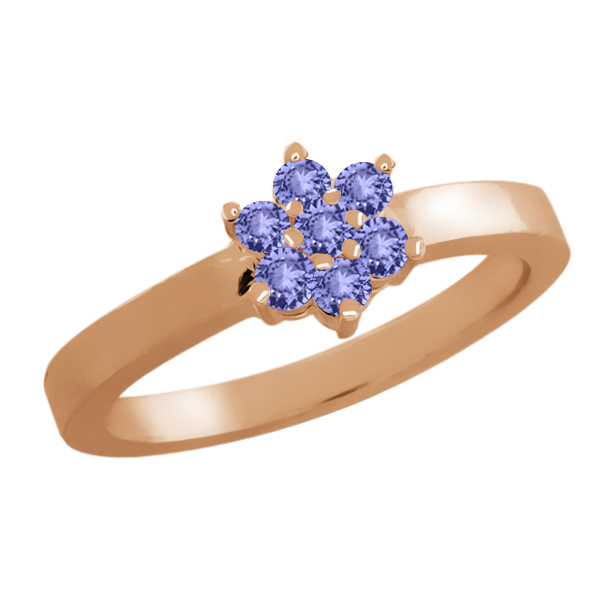 0.28 Ct Round Blue Tanzanite 14K Rose Gold Flower Ring by