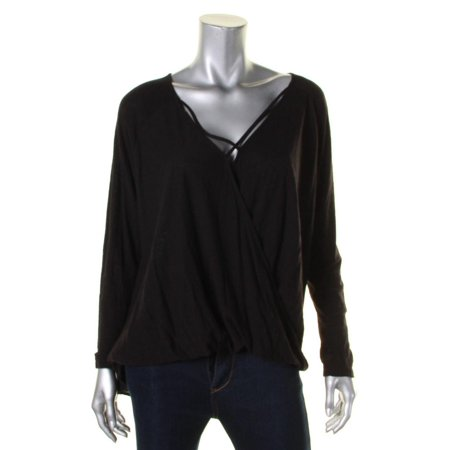 Michelle Mason Blouse - Michelle by Comune Womens Knit Crossover Casual Top Black M