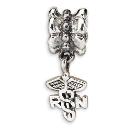 Angel Bracelet (925 Sterling Silver Charm For Bracelet Caduceus Angel Nursing Rn Registered Nurse Symbol Dangle Bead Career Hobby Gifts For Women For)