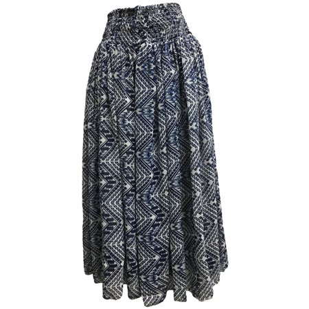 Missy Plus Smocked Waist Chiffon Georgette Sari Print Fashion Long Skirt Leena (#25 White Navy)