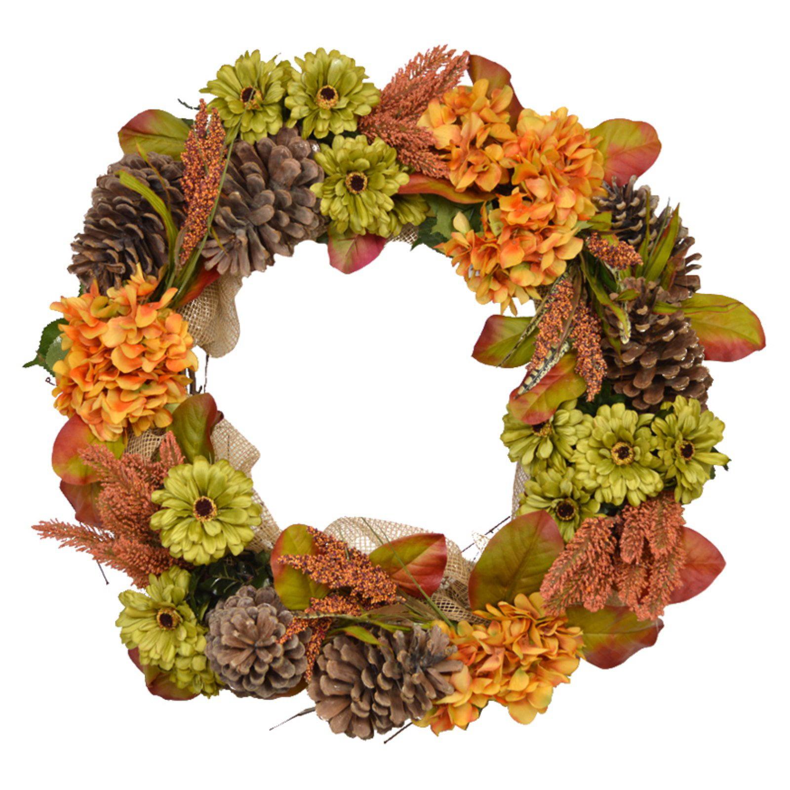 Creative Displays & Designs Artificial Pinecone Daisy And Hydrangea Wreath