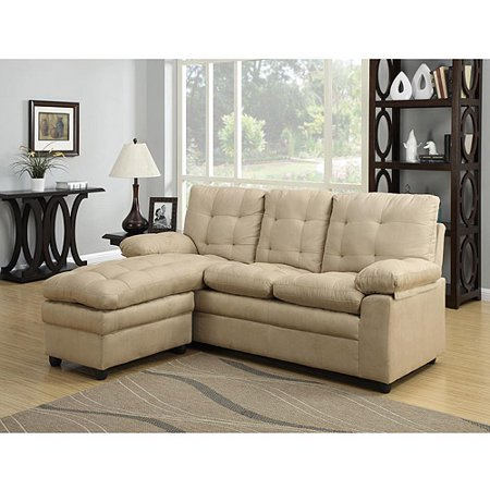 Dhi buchanan microfiber corner sectional sofa taupe box for Sectional sofa at walmart