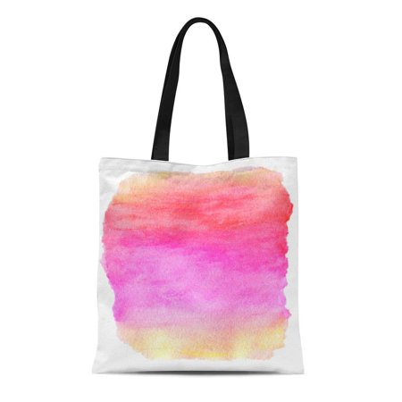 ASHLEIGH Canvas Bag Resuable Tote Grocery Shopping Bags Colorful Ombre Watercolor Wet Purple Pink Yellow Orange Top Abstract Red Color Tote Bag - Orange Tote Bag