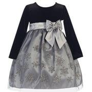Little Girls Silver Glitter Snowflake Velvet Tulle Christmas Dress 3T