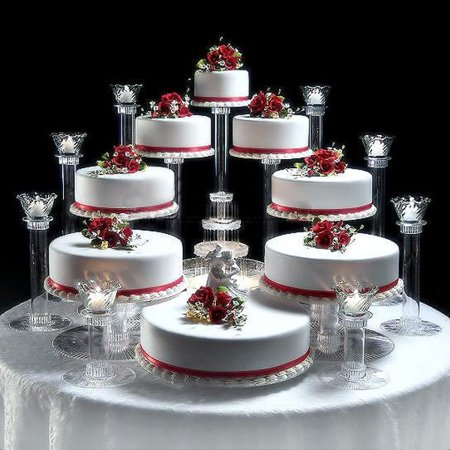 BalsaCircle Clear 8 Tiers Wedding Cupcake Cake Stand - Party Dessert Display Pedestal Riser - Cupcake Display Stand