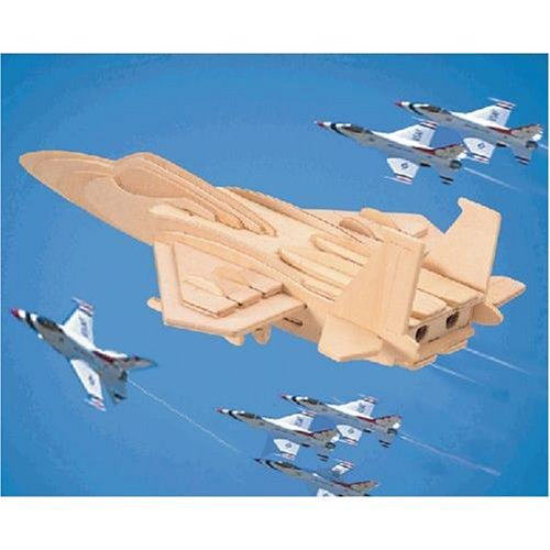 """F15 Fighterplane Woodcraft Construction Kit, Dimensions: 0.25"""" H x 7.31"""" W x 9"""" L By Puzzled"""