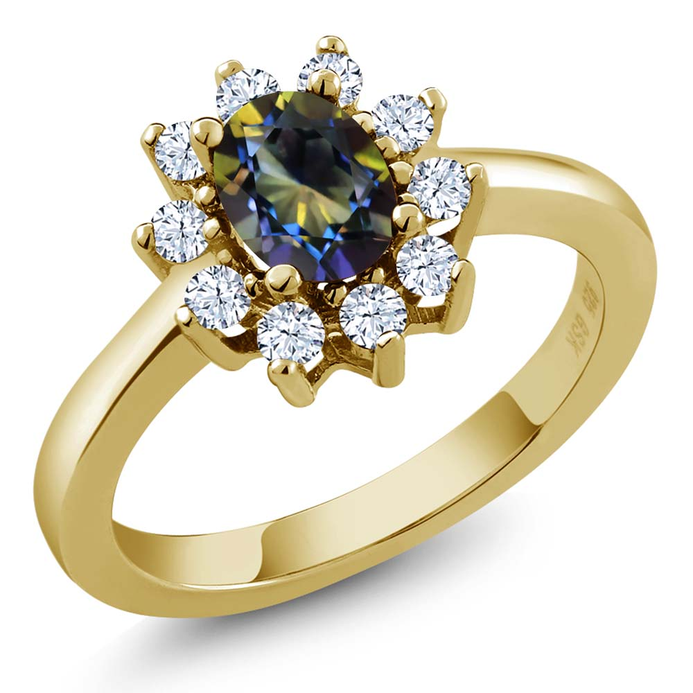 1.35 Ct Oval Blue Mystic Topaz Topaz Gold Plated Sterling Silver Ring