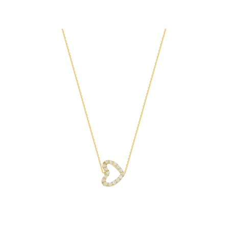 - 14k Yellow Gold Mini Sideways Heart Necklace with Cubic Zirconia East2West