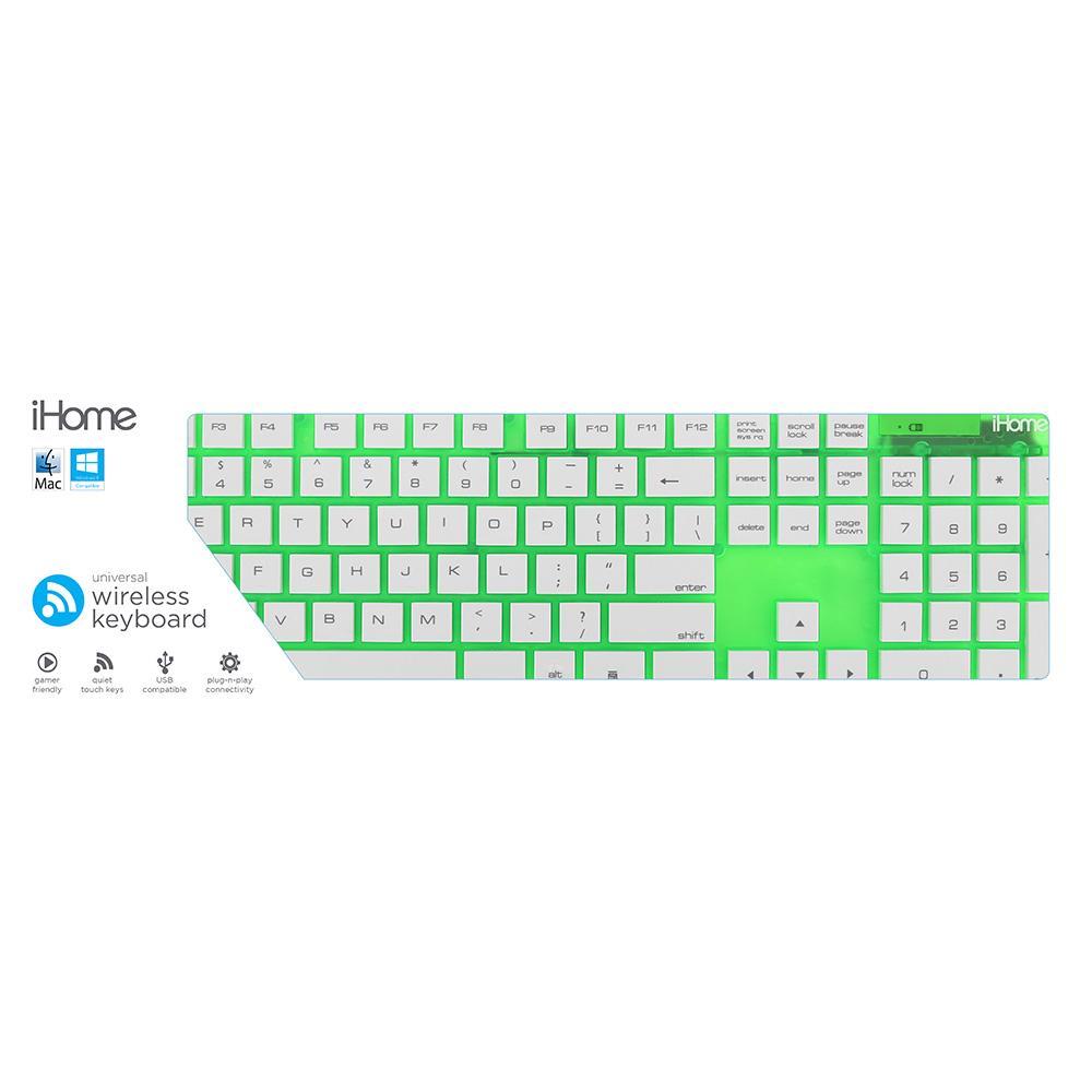 iHome IHK2100E IHK2100E Translucent Wireless Full Size Keyboard - Green