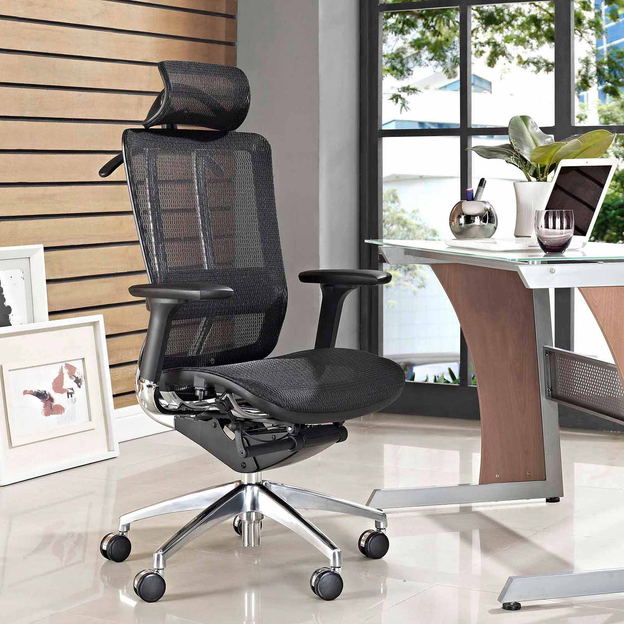 Modway Future Adjustable Back and Headrest Office Chair in Black