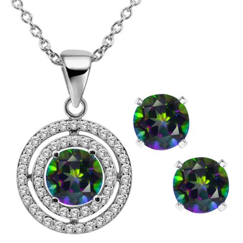 "3.64 Ct Round Green Mystic Topaz 925 Sterling Silver Pendant Earrings Set with 18"" Silver Chain"