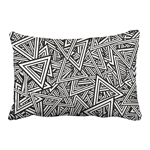 WinHome Black And White Rectangles Lines Pattern Decorative Pillowcases With Hidden Zipper Decor Cushion Covers Two Side 20x30 inches
