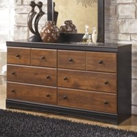 Ashley Furniture Aimwell 6 Drawer Wood Double Dresser in Brown