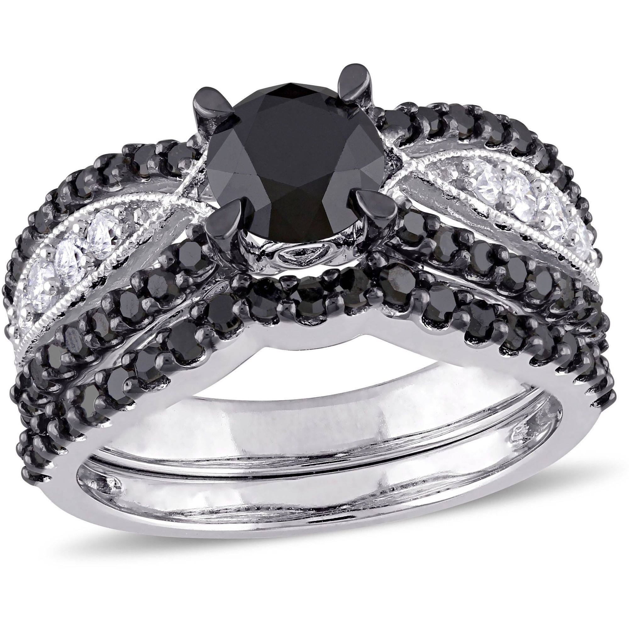 2 Carat T.W. Black and White Diamond 10kt White Gold Vintage Bridal Set by Generic