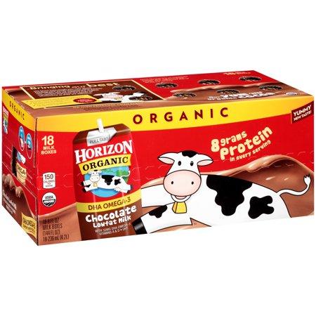 Horizon Organic Chocolate Low-Fat Milk Boxes, 8 fl oz, 18