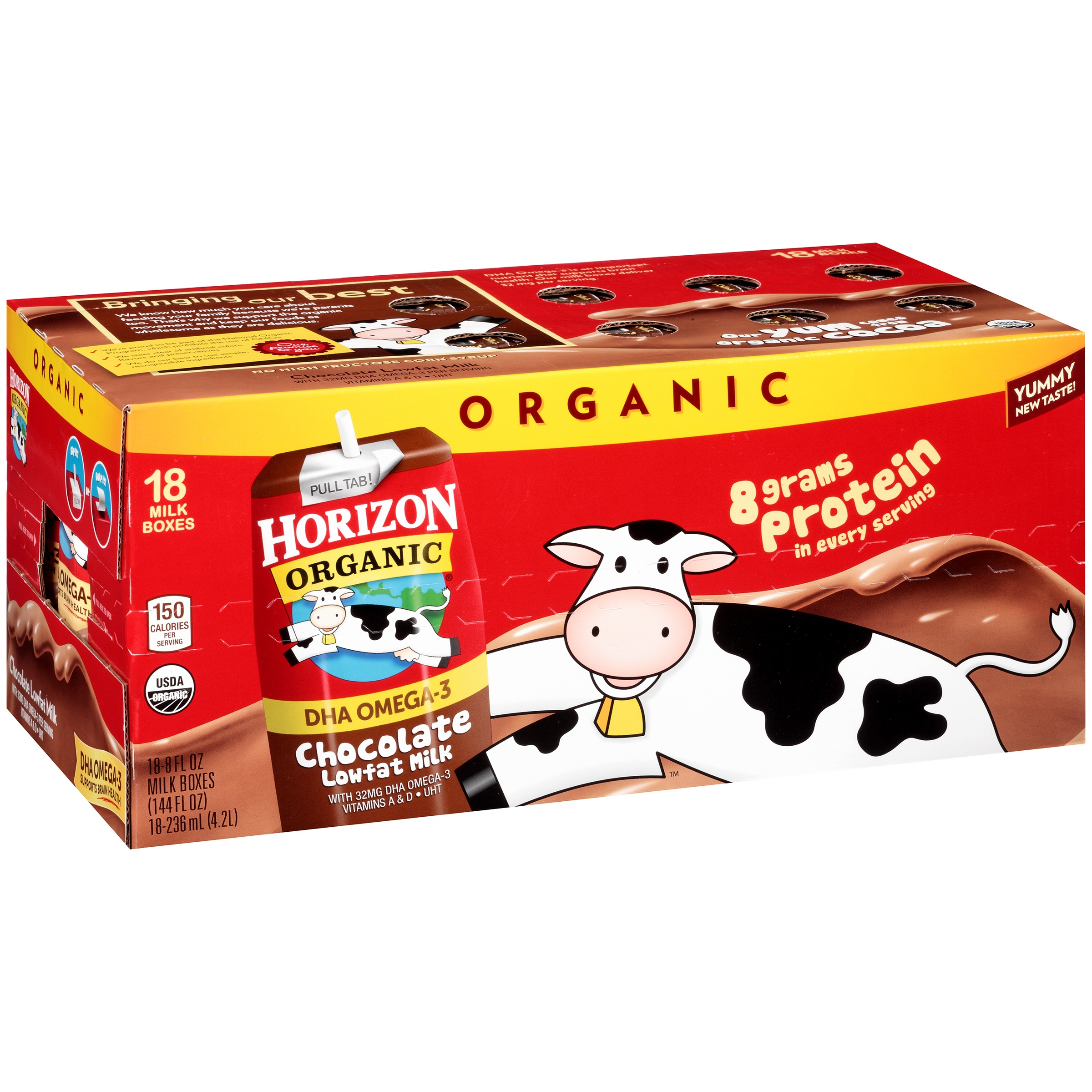 Horizon Organic Chocolate Low-Fat Milk Boxes, 8 fl oz, 18 Count