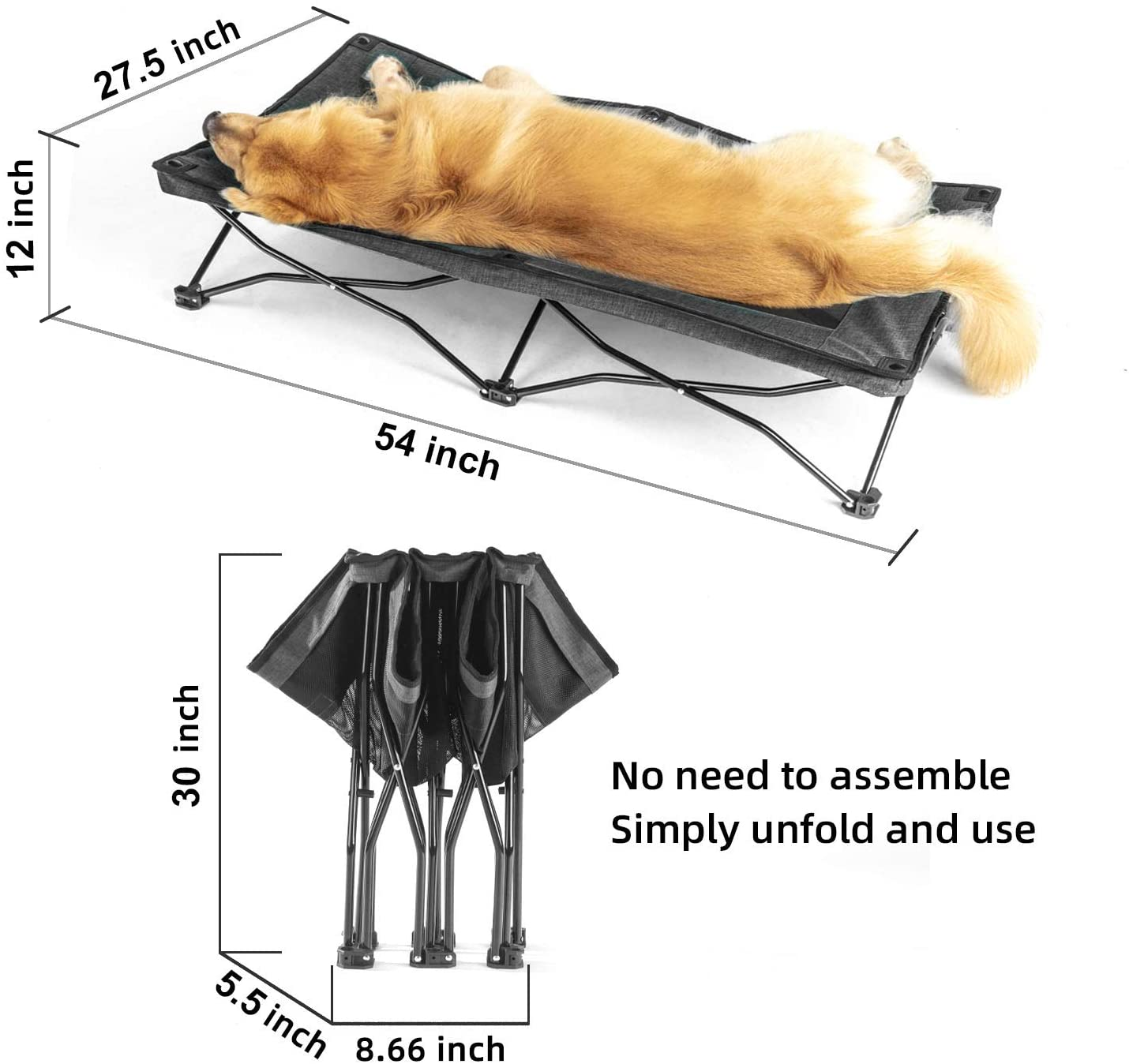 YEP HHO Large Elevated Folding Pet Bed Cot Travel Portable Breathable Cooling Mesh Sleeping Dog Bed 46 Inches Long