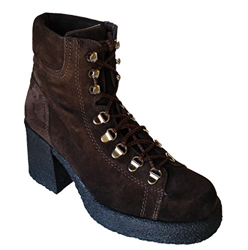 Pazzo Women's Combat Military Style Lace Up Suede Boots (7, Brown)