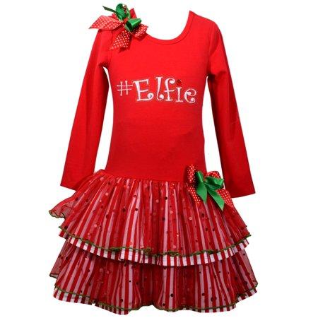 Bonnie Jean Girls Selfie Christmas Hashtag Elf Dress 0-3 months - Christmas Elf Dress