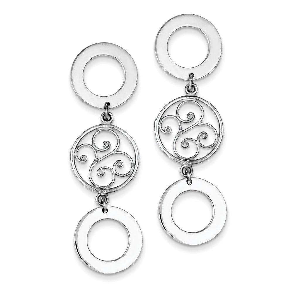 Sterling Silver Triple Circle Filigree Dangle Earrings (1.9IN x 0.6IN )
