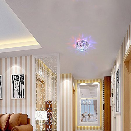 Modern Led Crystal Chandelier Aisle Ceiling Lighting Round Pendant Lamp Balcony Light  Colorful Light