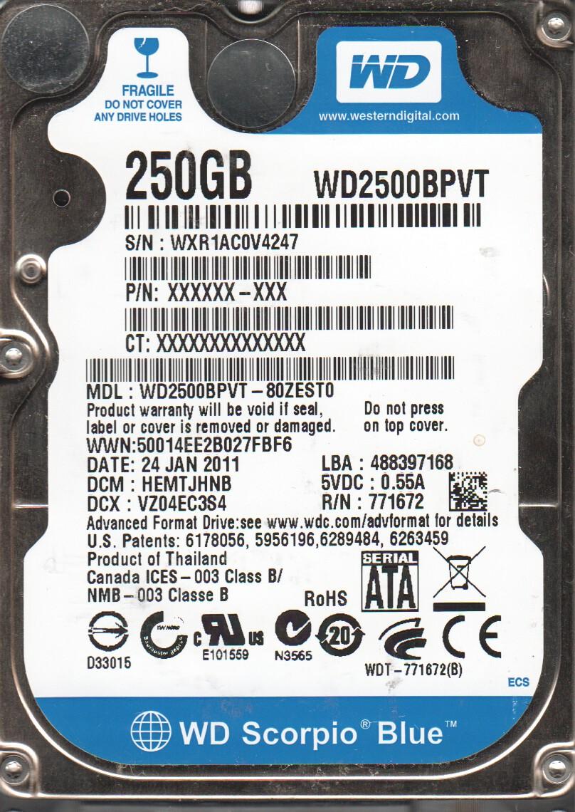 WD2500BPVT-80ZEST0, DCM HEMTJHNB, Western Digital 250GB SATA 2.5 Hard Drive by WD