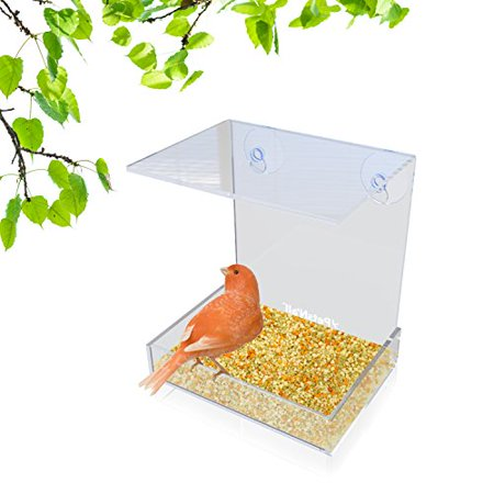 Window Alert Bird - Clear Window Bird Feeder with Heavy-Duty 2-Cup Small Pet Feeders