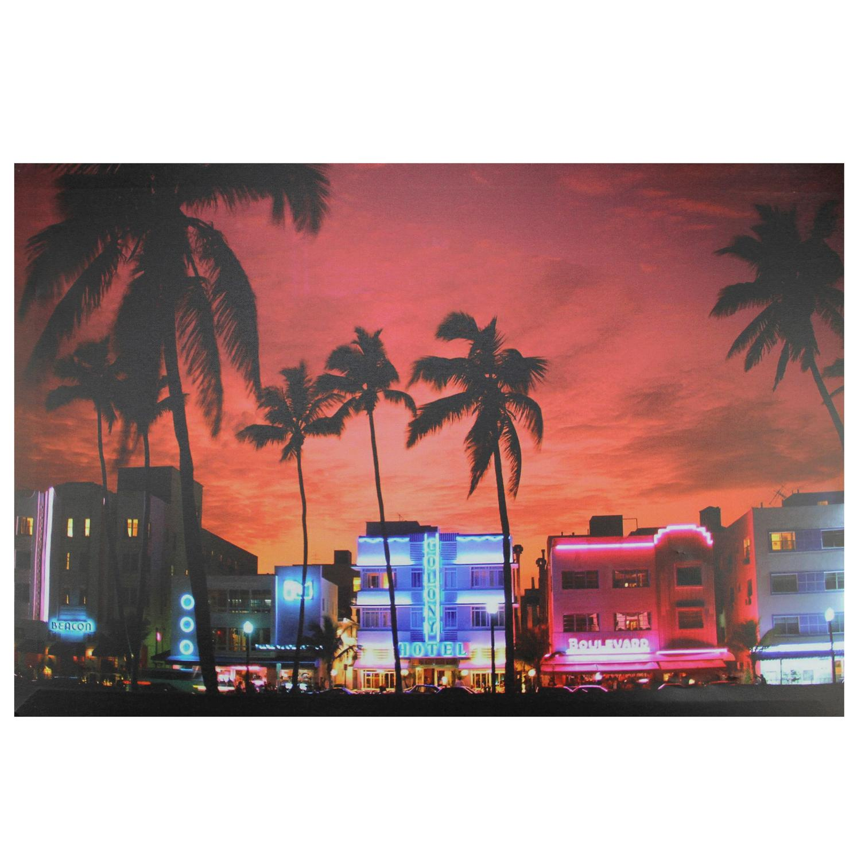 """LED Lighted célèbre South Beach Miami Floride Vie nocturne Scène Canvas Wall Art 15,75"""" x 23,5"""" - image 2 de 2"""