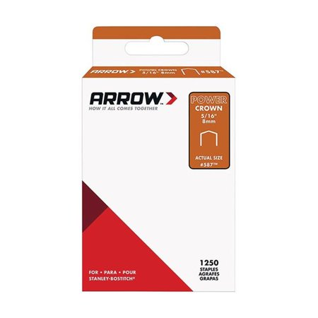 Arrow Fastener 587SP Flat Crown Standard Staples, Galvanized Steel, Grey, 5/16