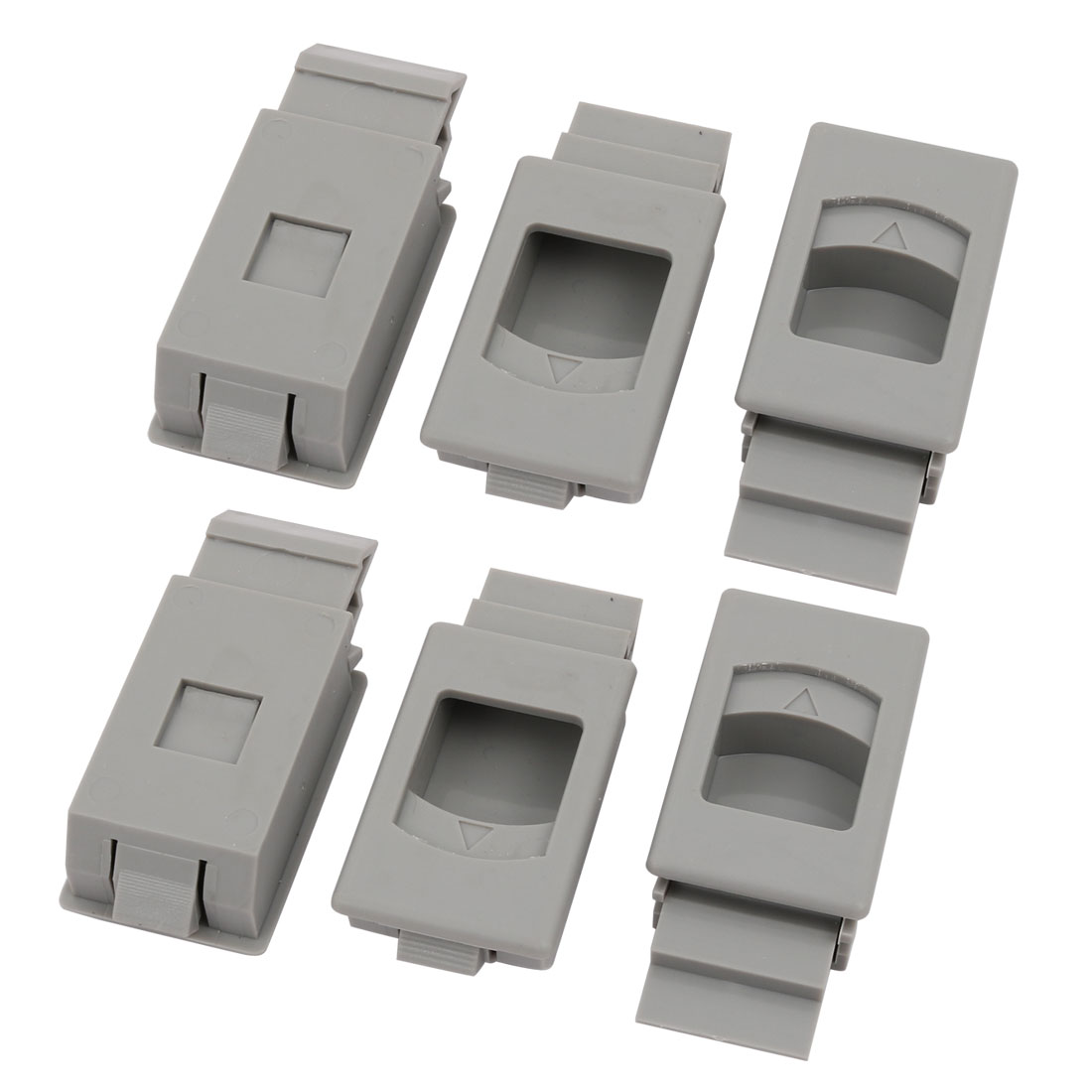 Window Cabinet Plastic Inside Sliding Pull Latch Gray 63x28x15mm 6pcs