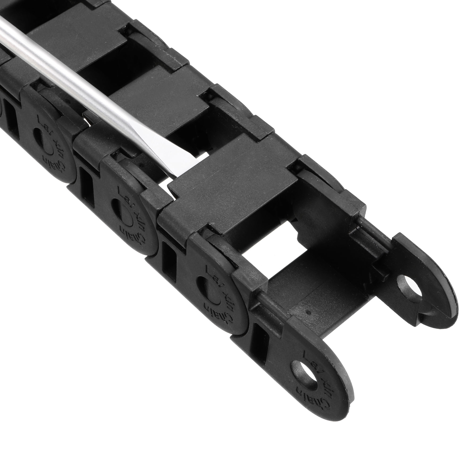 Drag Chain Cable Carrier Open Type with End Connectors R38 18X25mm 1 Meter Plastic for Electrical CNC Router Machines Bl - image 2 de 5