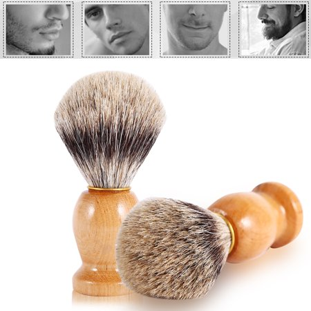 Men's Professional Wooden Handle Shaving Brush Faux Badger Hair Barber Beauty Tool