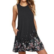 Womens Casual Round Neck Floral Printed Loose Sleeveless T-Shirt Dress Plus Size